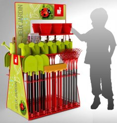 Présentoir animalerie et jardin en métal pour outil jardinage enfants JURATOYS