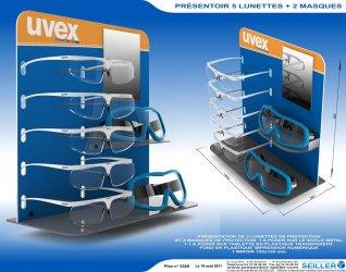 Présentoir de lunettes de sécurité en plastique UVEX