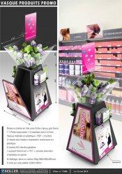 Présentoir promotionnel en métal et plastique pour produits cosmétiques OBJECTIF COIFFURE
