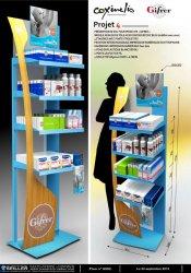 Présentoir santé en métal pour produits de puériculture COXINELIS GIFRER