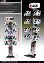 Présentoir sport loisir nature en métal et plastique pour casques de vélo Ekoi