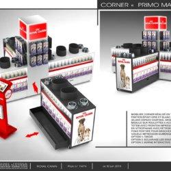 Présentoir Seiller fabricant PLV : Corner magasin en métal pour pet food ROYAL CANIN
