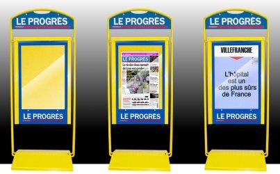 Stop trottoir en métal pour journaux Le Progrès