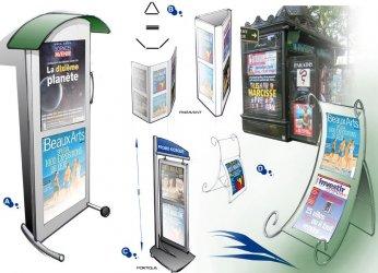 Support affiche en métal pour kiosque journaux AAP