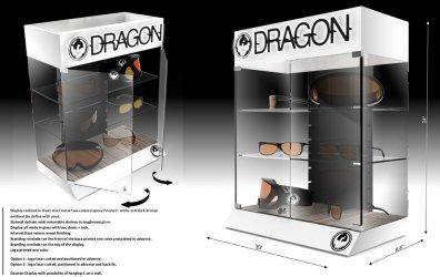 presentoir de comptoir en verre pour lunettes solaires DRAGON