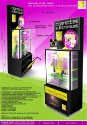 Vitrine de communication en métal et verre pour cigarettes électroniques Cdubo