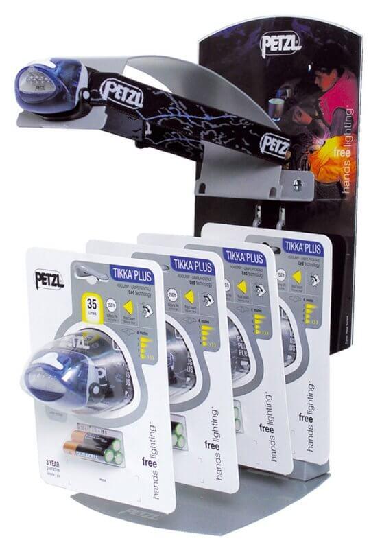 presentoir de comptoir en métal pour lampes frontales PETZL